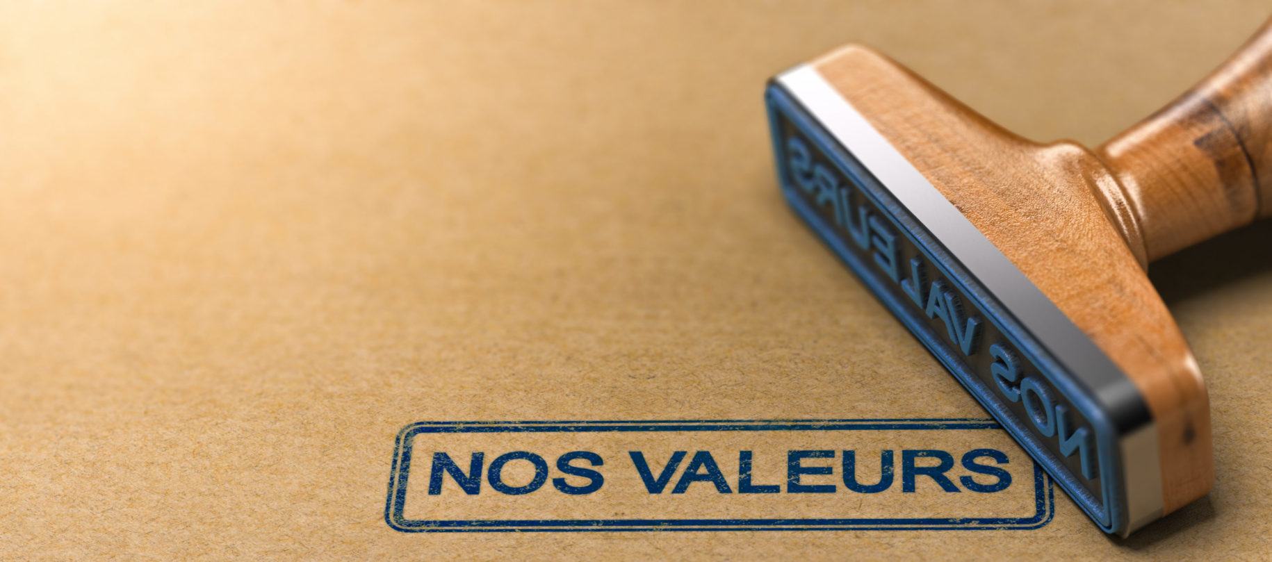 "Tampon avec texte ""nos valeurs"""
