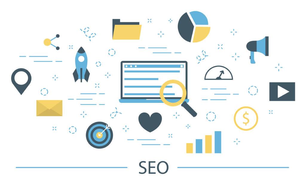 Patchwork d'icônes liées au référencement naturel ou SEO, base d'une création de contenu optimisé pour le web.
