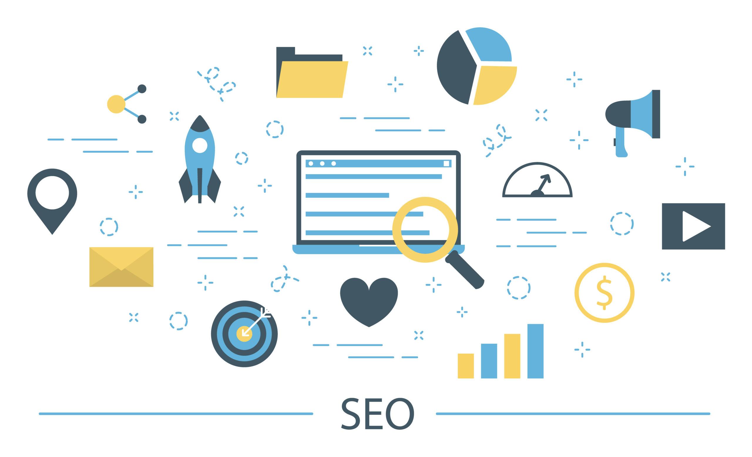 Icones représentant divers aspects de l'optimisation pour le web