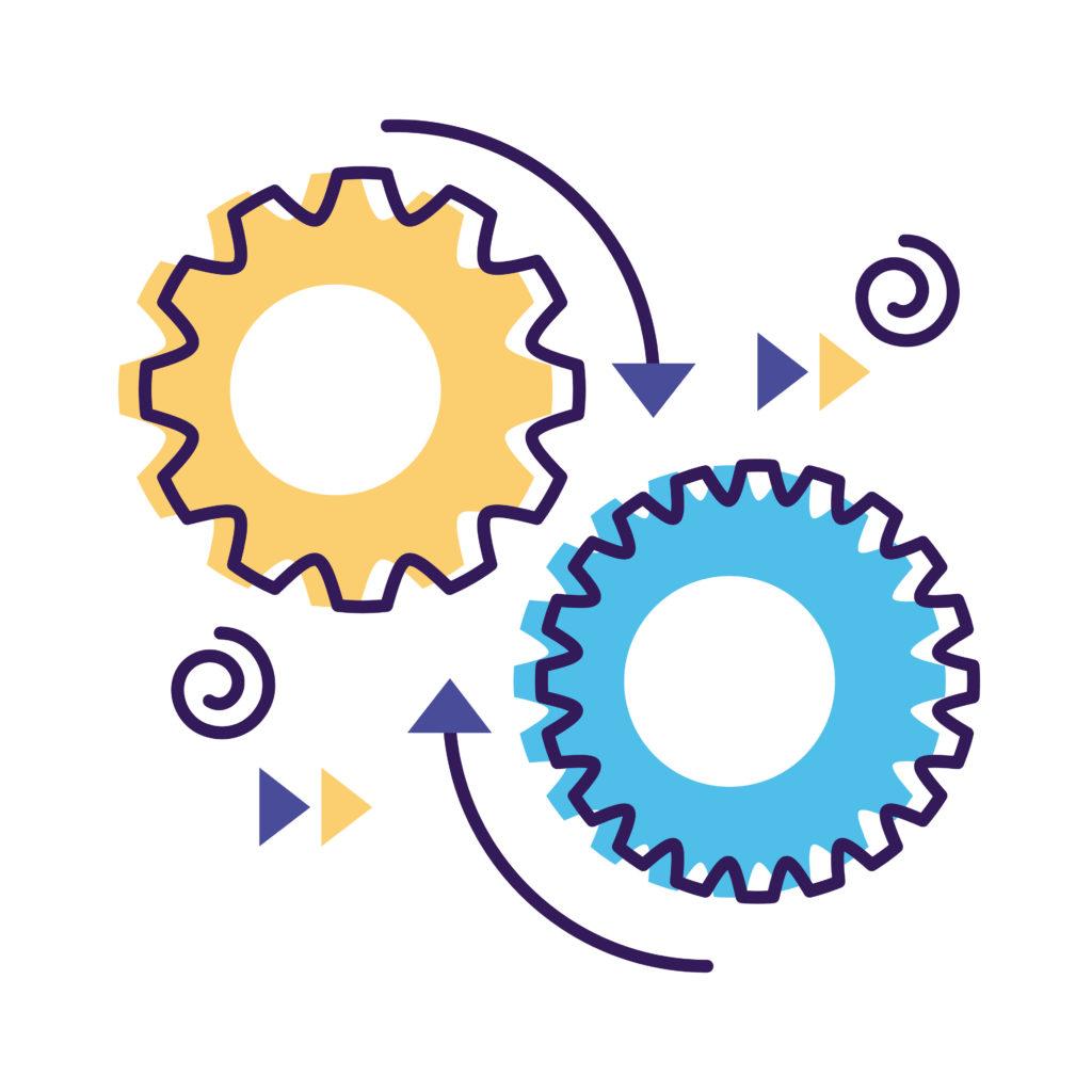 Rouages représentant le principe d'automatisation des process: transformer les tâches chronophage en temps.