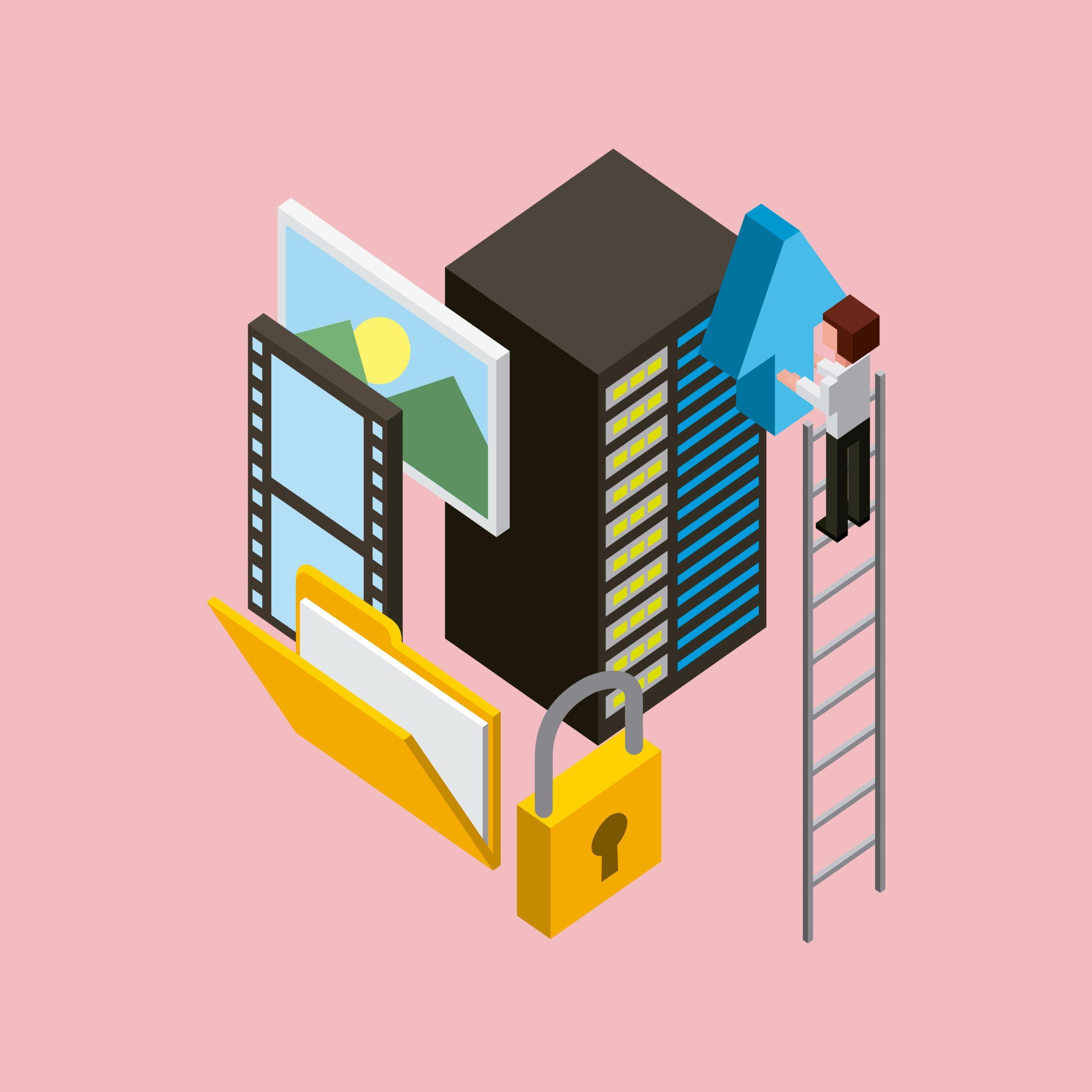 Bonhomme sur une échelle devant serveur d'hébergement web, contenu et cadenas pour le certificat SSL