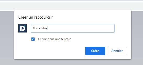 Options d'enregistrement lors de la création d'un raccourci avec Chrome.