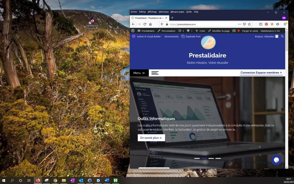 Réduction de la page web sur une moitié d'écran afin d'avoir une vue sur la page et le bureau dans le but de créer un raccourci.